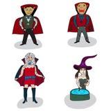 Vampiros e bruxas no Dia das Bruxas Fotos de Stock Royalty Free