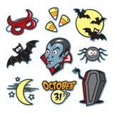 Vampirshalloween-Illustrationsikone eingestellt mit Sarg Stockbilder