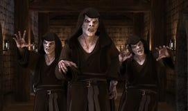 Vampirsmonster der Illustration 3D auf einem mittelalterlichen Hintergrund Stockbild