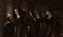 Vampirsmonster der Illustration 3D auf einem mittelalterlichen Hintergrund Lizenzfreies Stockfoto