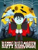 Vampyr för lycklig allhelgonaafton med bakgrund Royaltyfri Bild