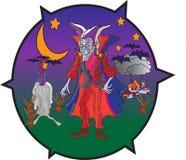 Vampyr i läskigt landskap Royaltyfri Illustrationer
