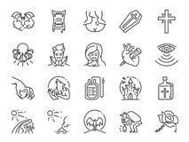 Vampyrlinje symbolsuppsättning Bland annat symboler som monstret, blod, huggtand, undead och mer vektor illustrationer