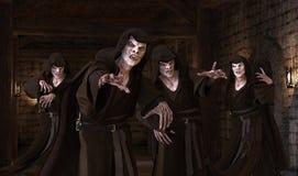 vampyrmonster för illustration 3D på en medeltida bakgrund royaltyfri illustrationer