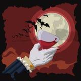 Vampyrrostat bröd på den röda natten med månen och slagträn, vektorillustration Arkivfoton