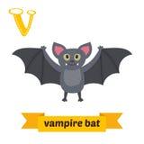 Vampyrslagträ bokstav v Djurt alfabet för gulliga barn i vektor Arkivbild