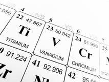 Vanádio na tabela periódica dos elementos foto de stock