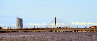 Riga Daugava panorama. The Vanšu Bridge Latvian: Vanšu tilts in Riga is a cable-stayed bridge that crosses the Daugava river in Riga, the capital of Latvia stock image