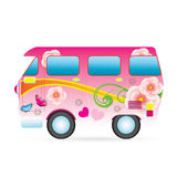Van. Colorful  piece  van. illustration Technology and  Ecological Transport Royalty Free Stock Photo