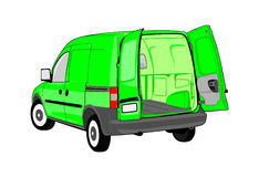 Van. With open back door. Without gradients. Easy to change colors. Space for your own text on the side of the vehicle royalty free illustration