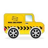 Доставка почты Van шаржа Стоковые Изображения