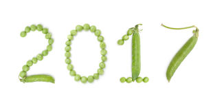 2017 van aantallen met groene erwten Stock Foto