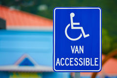 Van Accessible Sign. For handicapped person Stock Photos