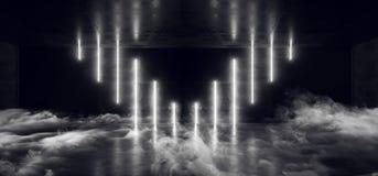Van van Achtergrond FI van rooksc.i de Futuristische Lege Zaal Hall Tunnel Corridor van Cyberpunk Neon Moderne Elegante Donkere W stock illustratie
