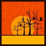 Van achtergrond Halloween ornamenten en bomen stock illustratie