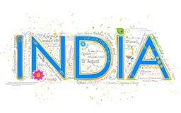 Van achtergrond India typografie Royalty-vrije Stock Afbeeldingen