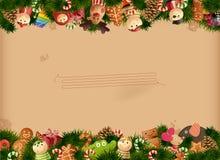 Van achtergrond Kerstmis speelgoed en oud document Stock Foto's