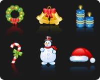 Van achtergrond Kerstmis zwarte pictogramreeks Royalty-vrije Illustratie