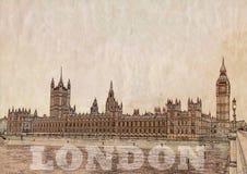 Van achtergrond Londen illustratie Stock Foto