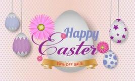 Van Achtergrond Pasen van de groetkaart malplaatje met mooie kleurrijke de lentebloemen en eieren Vector illustratieachtergrond stock illustratie