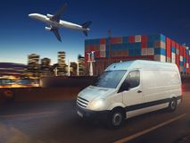Fast van on road delivering at night with cargo and airplane in background. 3D Rendering. Van, aircraft and cargo ship in a deposit ready to start to deliver. 3D stock illustration