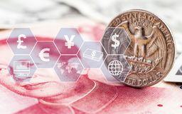 Van Amerikaanse dollarmuntstuk en China het bankbiljet van yuansrekeningen met virtueel pictogram Het concept muntuitwisseling ka vector illustratie