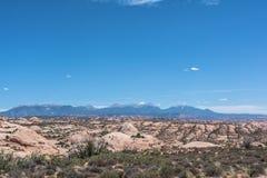 Van angst verstijfde Duinen in Bogen Nationaal Park, Utah Stock Foto's