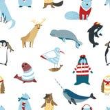 Van Arcticadieren en vogels het naadloze patroonnoordpoolgebied vector illustratie