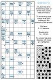 Van Arrowword (aanwijzing-in-vierkanten) het kruiswoordraadsel stock illustratie