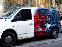 Van avec le caractère légendaire Darth Vader images libres de droits