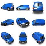Van azul 3d Model - montajes de imágenes Imagen de archivo libre de regalías