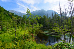 Van Azusarivier en Hotaka bergen in Kamikochi, Nagano, Japan Stock Afbeeldingen