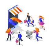 Van bedrijfs aantrekkelijkheidskopers concept Vector 3d isometrische illustratie De marketingcampagne van de klantenovereenkomst stock illustratie