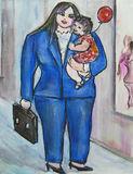 Van Bedrijfs curvy Mamma stock illustratie