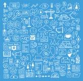 Van bedrijfs en website de elementen ontwikkelingskrabbels stock illustratie