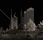 Van bedrijfs Frankfurt district met zwarte achtergrond royalty-vrije stock afbeelding