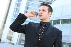 Van Bedrijfs hansome Mens op Telefoon Royalty-vrije Stock Afbeeldingen
