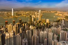 Van bedrijfs Hong Kong centrale luchtmening van de binnenstad Royalty-vrije Stock Afbeeldingen