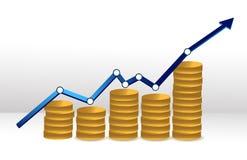 Van bedrijfs muntstukken grafiek Stock Foto's