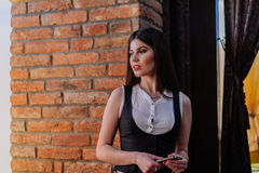 Van bedrijfs Nice dame in de koffie Portret Royalty-vrije Stock Foto
