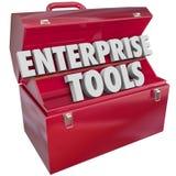 Van bedrijfs ondernemingshulpmiddelen Rode Metal Toolbox Company Software App Stock Foto
