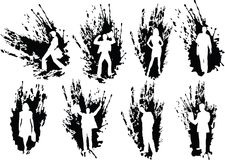 Van bedrijfs silhouetten mensen binnen Royalty-vrije Stock Foto