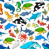 Van beeldverhaalzeevissen en dieren vectorpatroon Stock Afbeelding