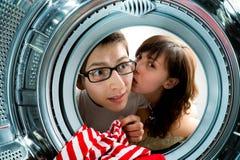 Van binnenuit de wasmachinemening. Stock Afbeeldingen