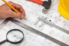 Van bouwontwerpen en hulpmiddelen achtergrond Stock Afbeeldingen