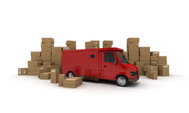 Van and Boxes Royalty Free Stock Photography