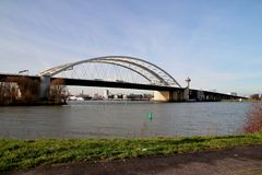 The Van Brienenoordbrug as suspension bridge over the nieuwe maas river on motorway A16 in Rotterdam the Netherlands. The Van Brienenoordbrug as suspension royalty free stock image