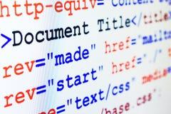 Van bron HTML code van Web-pagina met titel Royalty-vrije Stock Foto's