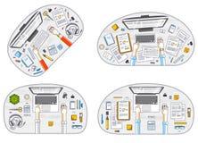 Van bureauwerknemers of ondernemers de werkplaatsen van het werkbureaus met handen en PC-computers en diverse kantoorbehoeften he vector illustratie