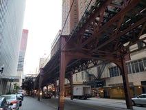 Chicago street view. Van Buren street Chicago, the L, subway Royalty Free Stock Photo